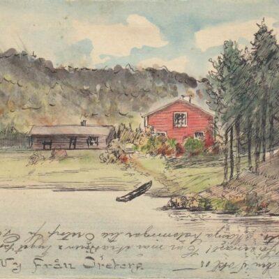 Vy från Öretorp Handmålad akvarell på helsakskort Poststämplat 5/10 1905 Ägare: Åke Runnman 9x14