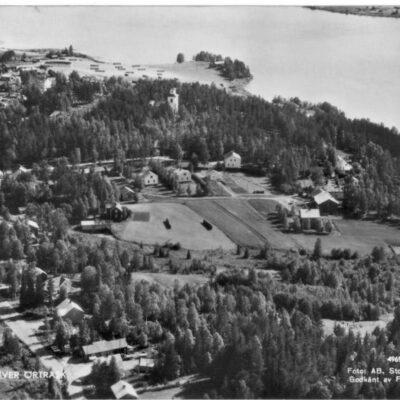 Flygfoto över Örträsk 4969-50 Foto: AB. Stockholms Aero Poststämplat 1964-08-07 Ägare: Åke Runnman 10x15