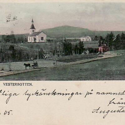 Bjurholm. Vesterbotten Åhlén & Holms Konstförlag. Insjön Skickat 11/9 1905 Ägare: Åke Runnman 9x14