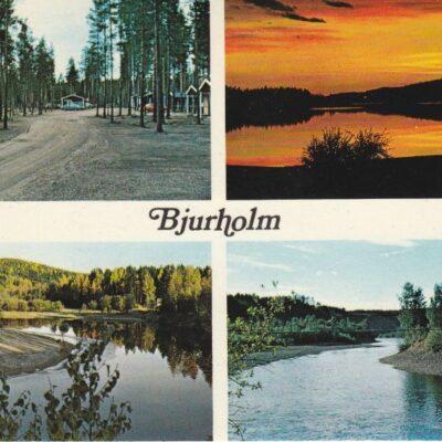 Bjurholm Agnsjöns campingplatsAftonrodnad över AgnsjönÖre älvHängbro över LagnäsetFoto: Tore LindPostat 28/7 1989Ägare: Åke Runnman10x15