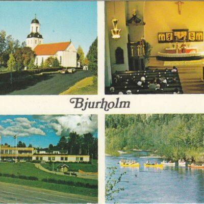 Bjurholm Bjurholms kyrka Bjurholms kyrka, interiör Värdshuset Bävern Kanotfärd på Öreälven Foto: Ernst Lundgren Postat 18/6 1979 Ägare: Åke Runnman 10x15