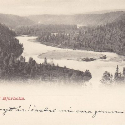 Öre Elf vid Bjurholm Oscar E. Kulls Grafiska Anst., Malmö. 444 Postat 1/1 1904 Ägare: Åke Runnman 9x14