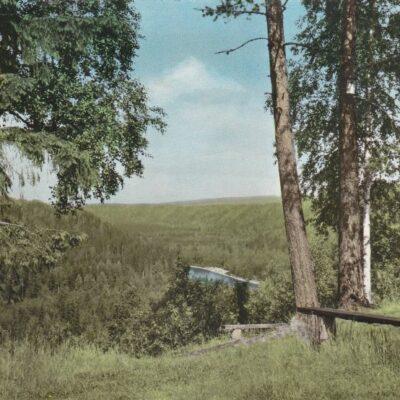 Bjurholm. Utsikt från hembygdsgården Förlag: Anderssons Bok- & Pappershandel, Bjurholm Poststämplat 11/7 1978 Ägare: Åke Runnman