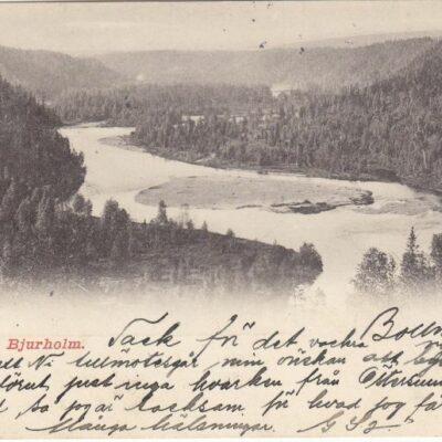 Öre Elf vid Bjurholm Oscar E. Kulls Grafiska Anst., Malmö.Poststämplat 9/1 1902Ägare: Åke Runnman9x14