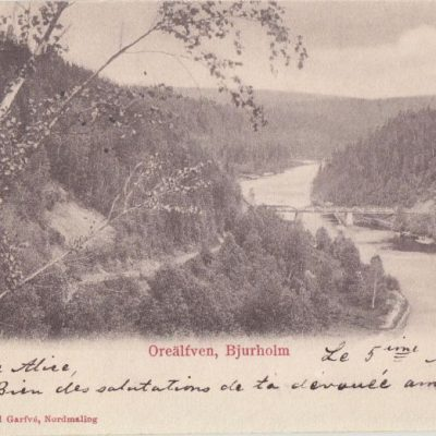Oreälfven, Bjurholm Foto och förlag Rikard Garfvé, Nordmaling Poststämplat 7/3 1903 Ägare: Åke Runnman 9x14
