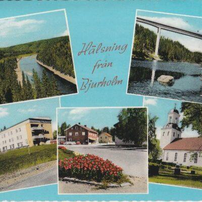 Hälsning från Bjurholm Anderssons Bok & Pappershandel, BjurholmPoststämplat 27/7 1971Ägare: Åke Runnman10x15