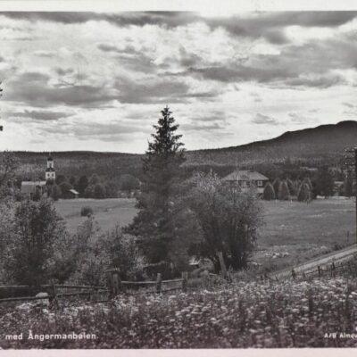 Bjurholm. Utsikt med Ångermanbalen Förlag: Anderssons Bok & Pappershandel, Bjurholm Poststämplat 19/9 1950 Ägare: Åke Runnman 9x14