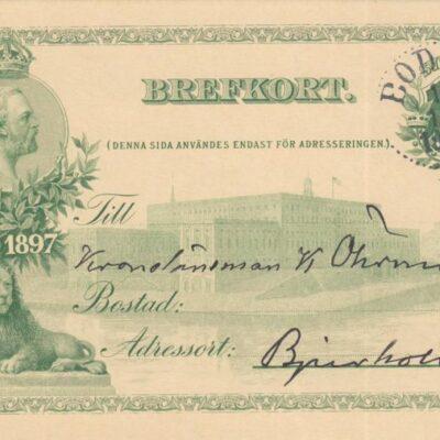 Brefkort Poststämplat BODEN 1905-10-01 Ägare: Åke Runnman 9x14