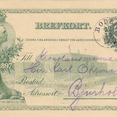 Brefkort Poststämplat BODEN 1900-10-29 Ägare: Åke Runnman 9x14