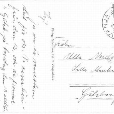 Vykort från Vänjaurbäck Postat 11.8.1959 Ägare: Åke Runnman