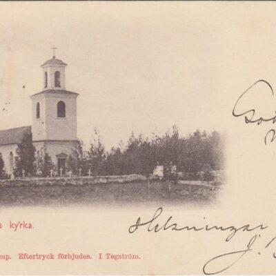 Lycksele kyrka A. & C. Import I Tegström Poststämplat 30/12 1901 Ägare: Åke Runnman 9x14
