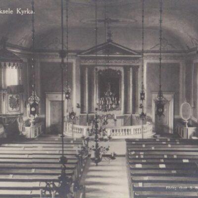 Interiör av Lycksele kyrka Förlag: Gust. S. Bodéns Bokhandel Lycksele Ocirkulerat Ägare: Åke Runnman 9x14