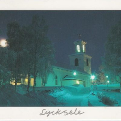Lycksele kyrka Copyright: Torgny Arnfjell Lycksele Poststämplat 27/12 1999 Ägare: Åke Runnman 10x15