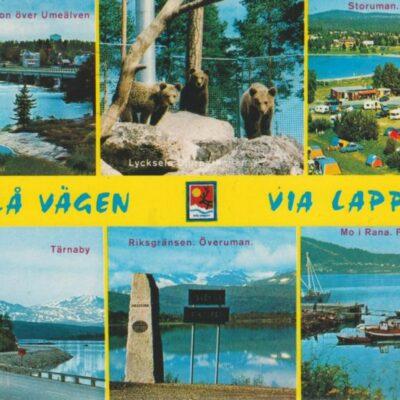 Blå vägen - Via Lappia - Sweden Copyright: Grönlunds Foto, Skansholm Poststämplat 14/6 1976 Ägare: Åke Runnman 10x15