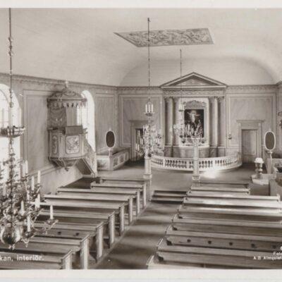 Lycksele. Kyrkan, interiör Förlag: Bodéns Bokhandel. Lycksele 624/53 Poststämplat 1963-04-06 Ägare: Åke Runnman 9x14