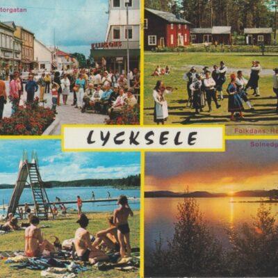 Lycksele Centrum i södra lappmarken, Sweden Copyright: Grönlunds Foto, Skansholm Poststämplat 24/8 1977 Ägare: Ivar Söderlind 10x15