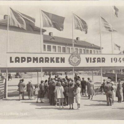 Utställningen i Lycksele 1949 Ensamrätt: Utställningsfoto AB, Göteborg Postat 1/8 1949 Frimärket stämplat med utställningsstämpel Ägare: Åke Runnman 9x14
