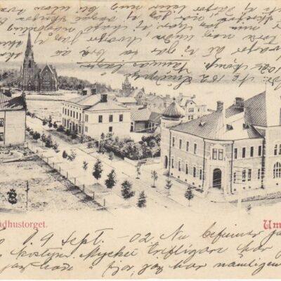 Vy från Rådhustorget. Umeå Saedens Cigarr & Ekiperingsaffär Daterat 9 september 1902 Ägare: Ivar Söderlind 9x14