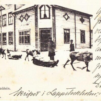 Gata i Lappstockholm JDA Lindahls Bokh. Poststämplat 19/12 1908 Ägare: Åke Runnman 9x14
