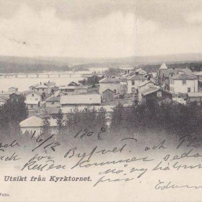 Lycksele. Utsikt från Kyrktornet J. E. Johansson Foto Blombergs Boktr. Lindesberg Poststämplat 16/12 1902 Ägare: Åke Runnman 9x14