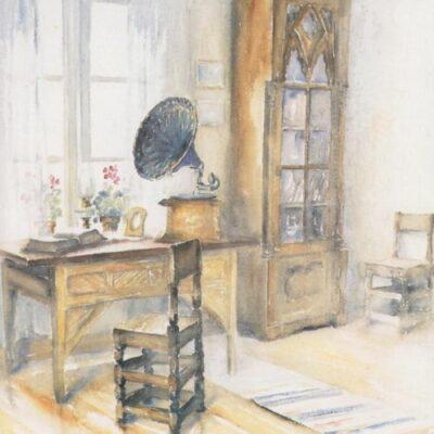 I salen i Karlbergsgården Gammplatsen, Lycksele Akvarell: Kerstin Westin Ocirkulerat Ägare: Åke Runnman 10x15