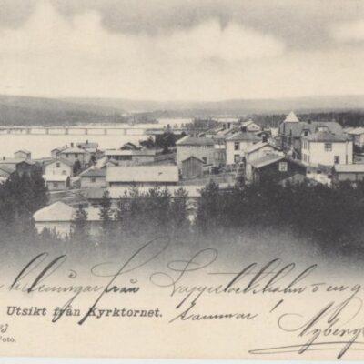 Lycksele. Utsikt från Kyrktornet J. E. Johansson, Foto Oriel Blombergs Boktr. Lindesberg. 6221 Poststämplat 23/6 1903 Ägare: Åke Runnman 9x14
