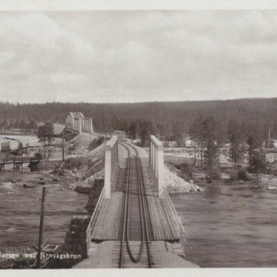 Lycksele, Hällforsen med järnvägsbron Svenska Pressbyrån 604 Poststämplat Lappmarken visar 16/7 1949 Ägare: Åke Runnman 9x14