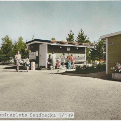 Vykortsförlaga Umeå. Campingplats SandbackaFörlag: Fjellströms Pappershandel Eftr.Sven Sandberg, UmeåÄgare: Åke Runnman10x15