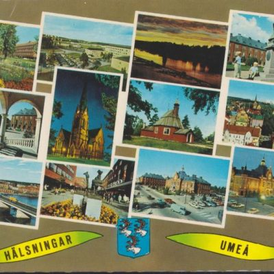 HÄLSNINGAR UMEÅ Förlag: Sandbergs Papper, Umeå Poststämpel oläslig Ägare: Ivar Söderlind 10x15