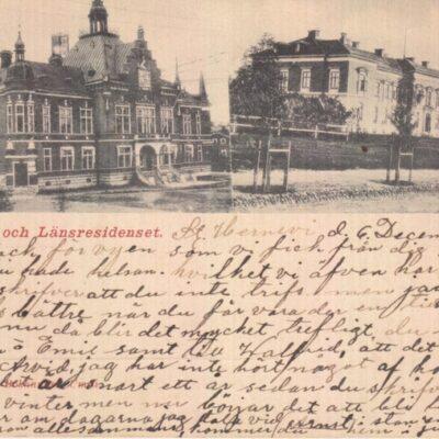 Rådhuset och Länsresidenset Joh. Åkerbloms Bokhandel. Umeå Poststämplat 6/12 1903 Ägare: Åke Runnman 9x14