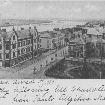 Wy från Rådhuset H. Glas Pappershandel Poststämplat 10/5 1904 Ägare: Åke Runnman 9x14