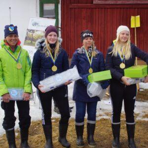 Segrarna i Damsenior från Hälsingland Marie Björklin, Kristin Alsing, Cecilia Alsing, Malin Granström