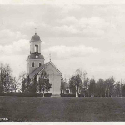 Bjurholms Kyrka, Förlag: Anderssons Pappershandel, Tel. 9. Daterat 27/8 1937, plundrat. Ägare: Åke Runnman 9x14