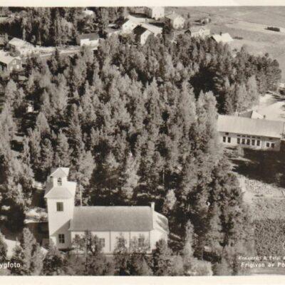 Örträsk kyrka. Flygbild Ensamrätt & Foto: A/B Flygtrafik, Dals Långed Poststämplat 25/5 1963 Fotot från 1954 Ägare: Åke Runnman 9x14