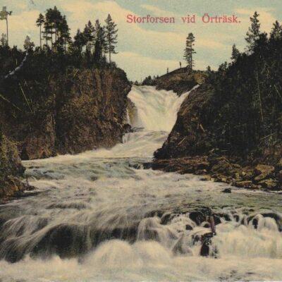 Storforsen vid Örträsk Holger Bonderups Konstförlag, Malmö Poststämplat 26/6 1912 Ägare: Åke Runnman 9x14