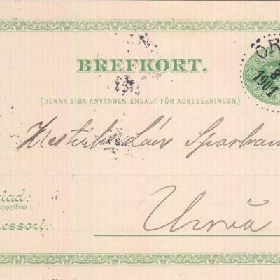 Poststämplat 1901-08-15 Ägare: Åke Runnman 9x14