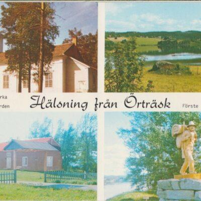 Hälsning från Örträsk Foto: Siri Löfgren, V:a Örträsk. Stämplat Örträsk 1985-07-15 Ägare: Åke Runnman 10x15