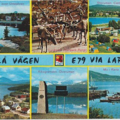 Blå vägen - Via Lappia. Sweden Europaväg 79 Copyright: Grönlunds Foto, Skansholm, Vilhelmina Ocirkulerat Ägare: Åke Runnman 10x15