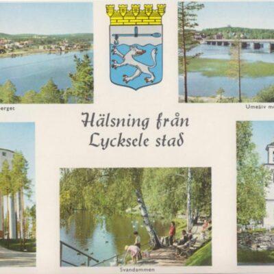 Hälsning från Lycksele stad Förlag: Lycksele Pappershandel, Lycksele Ocirkulerat Ägare: Åke Runnman 10x15