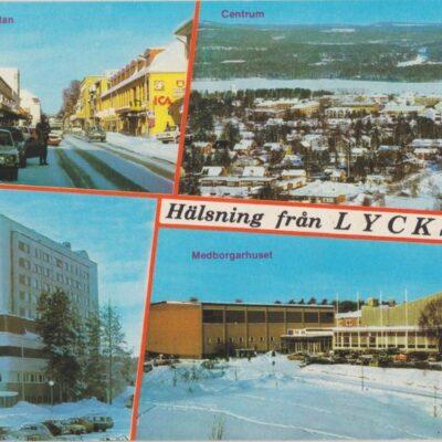 Hälsning från Lycksele Copyright: Grönlunds Foto, Skansholm, Vilhelmina Poststämplat 1988-03-27 Ägare: Åke Runnman 10x15