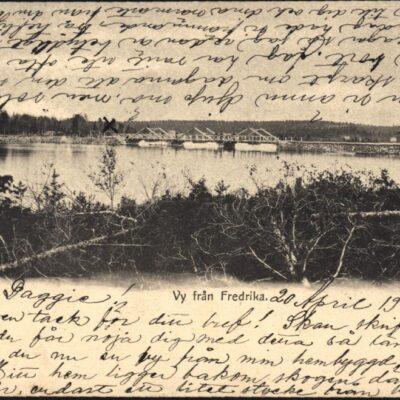 Vy från Fredrika Poststämplat 20/4 1902 Ägare: Åke Runnman