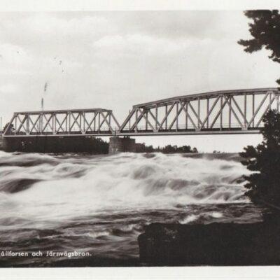 LYCKSELE. Hällforsen och Järnvägsbron Pressbyrån 60196 Poststämplat Lappmarken visar 16/7 1949 Ägare: Åke Runnman 9x14