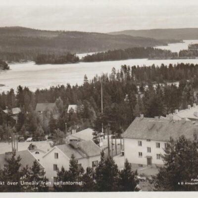 Lycksele. Utsikt över Umeälv från vattentornet Förlag: Lycksele Pappershandel Ocirkulerat Ägare: Åke Runnman 9x14