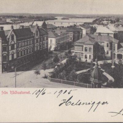 Umeå. Utsikt från Rådhustornet Poststämplat 1905-6-10 Ägare: Ivar Söderlind 9x14