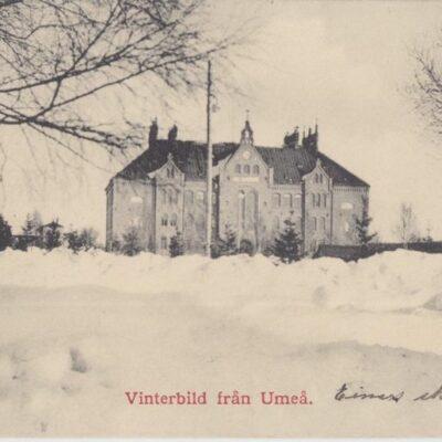 Vinterbild från Umeå Johan Åkerbloms Bokhandel Poststämplat 31/12 1912 Ägare: Ivar Söderlind 9x14