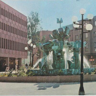 UMEÅ. Stig Lindbergs fontän i Umeå centrum Hallens reklamtryck Poststämplat 1985-05-23 Ägare: Ivar Söderlind 10x15