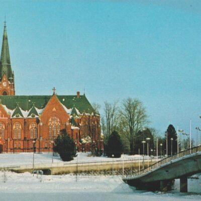Vinterhälsningar från UMEÅ, kyrkan och UMEÄLVEN Hallens reklamtryck Poststämplat 1982-11-03 Ägare: Åke Runnman 10x15