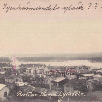 Parti av Hamn, Lycksele Gust. S. Bodéns Bok & Pappershandel, Lycksele Plundrat Poststämplat 15/4 1915 Ägare: Ivar Söderlind 9x14
