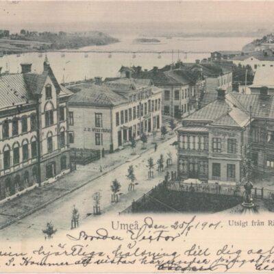 Umeå. Utsigt från Rådhustornet Imp. Johan Åkerbloms Bokhandel, Umeå Poststämplat 26/5 1901 Ägare: Åke Runnman 9x14