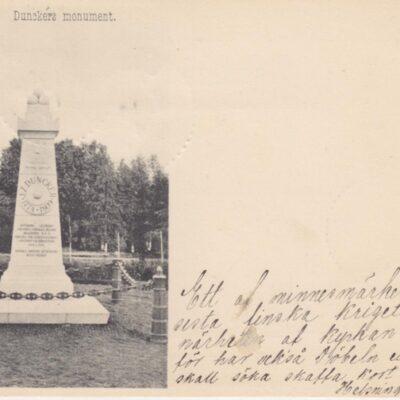 Umeå. Dunckers monument Förlag: Johan Åkerbloms Bokhandel, Umeå Poststämplat 12/4 1901 Ägare: Åke Runnman 9x14